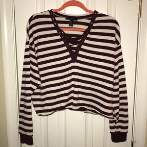 Forever 21 Women's Maroon Striped Cropped Sweater